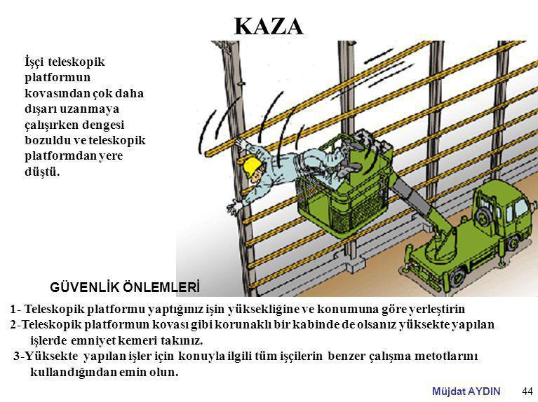 KAZA İşçi teleskopik platformun kovasından çok daha dışarı uzanmaya çalışırken dengesi bozuldu ve teleskopik platformdan yere düştü.