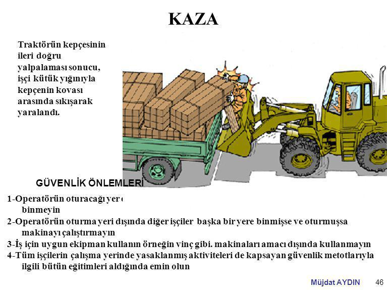 KAZA Traktörün kepçesinin ileri doğru yalpalaması sonucu, işçi kütük yığınıyla kepçenin kovası arasında sıkışarak yaralandı.