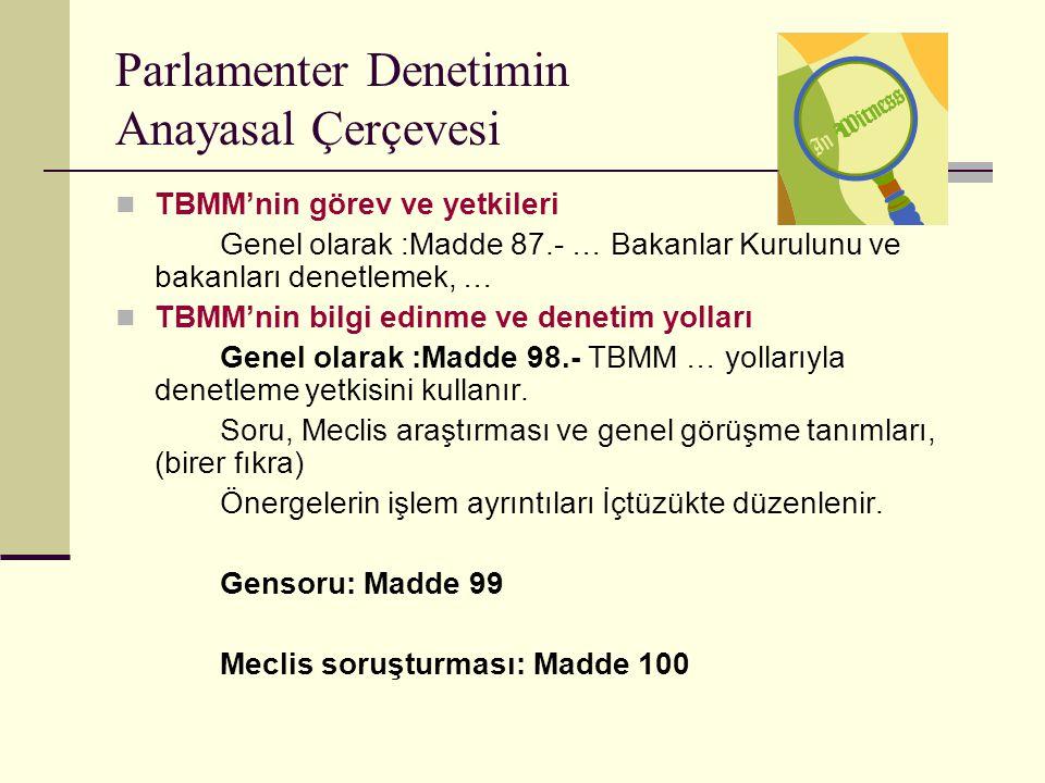 Parlamenter Denetimin Anayasal Çerçevesi