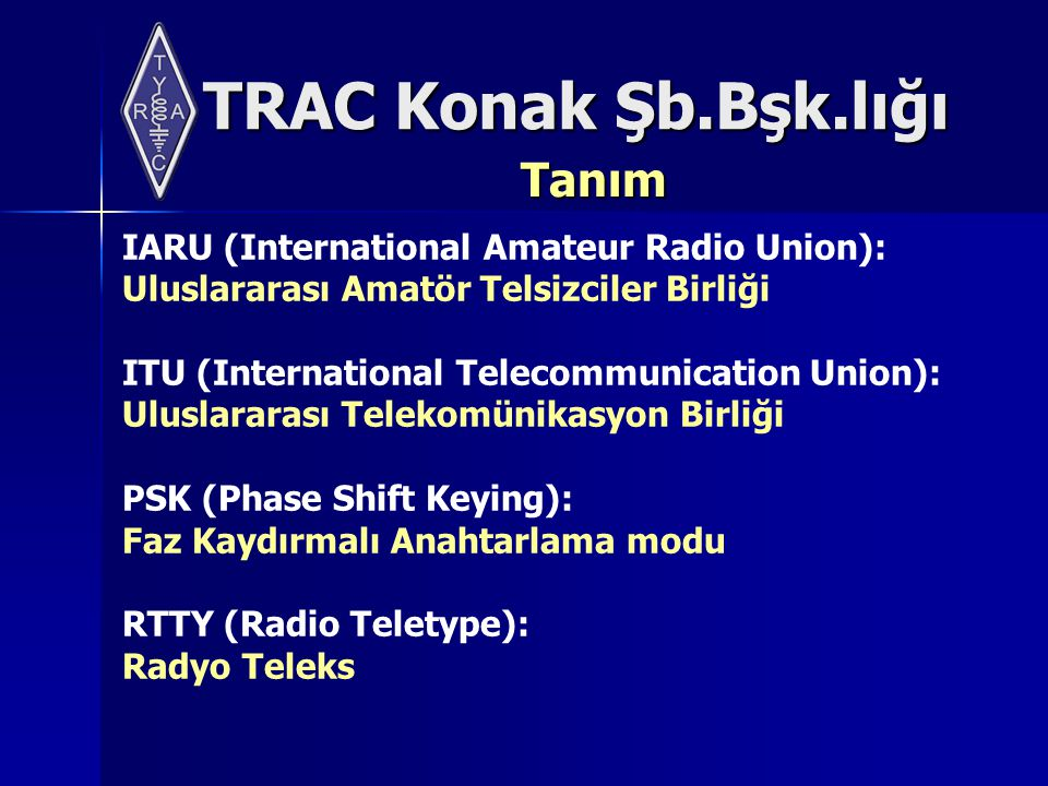 Tanım IARU (International Amateur Radio Union):