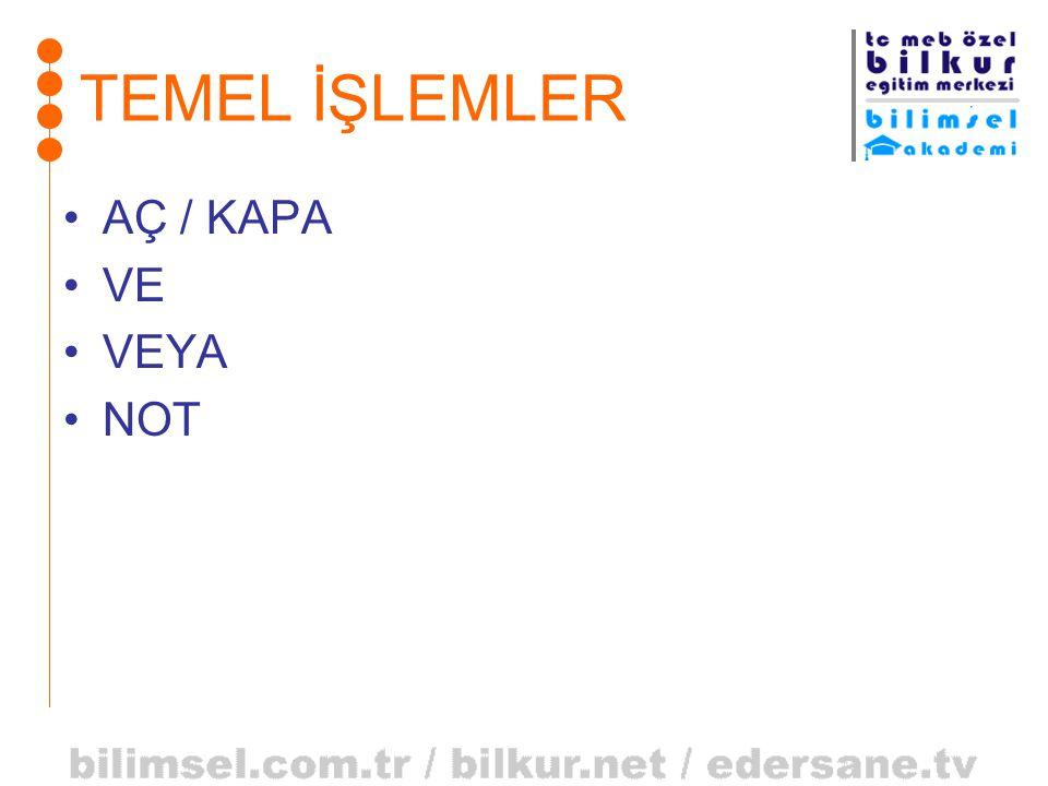 TEMEL İŞLEMLER AÇ / KAPA VE VEYA NOT