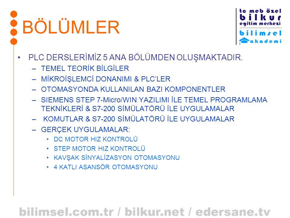 BÖLÜMLER PLC DERSLERİMİZ 5 ANA BÖLÜMDEN OLUŞMAKTADIR.
