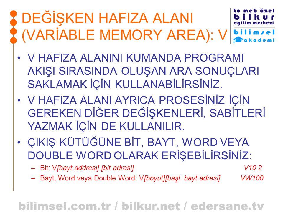 DEĞİŞKEN HAFIZA ALANI (VARİABLE MEMORY AREA): V