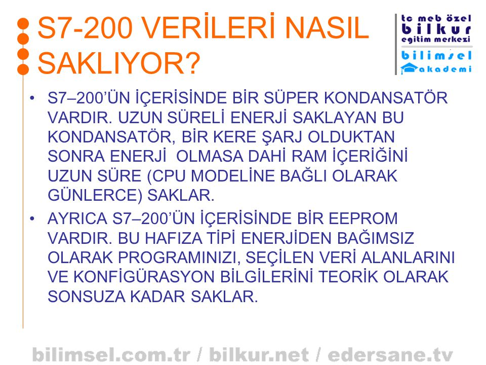 S7-200 VERİLERİ NASIL SAKLIYOR