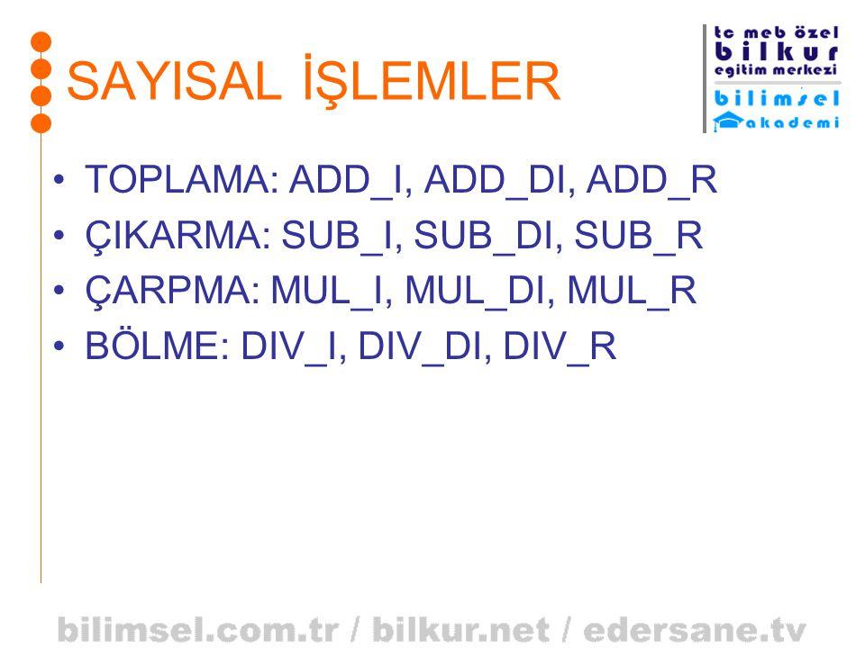 SAYISAL İŞLEMLER TOPLAMA: ADD_I, ADD_DI, ADD_R