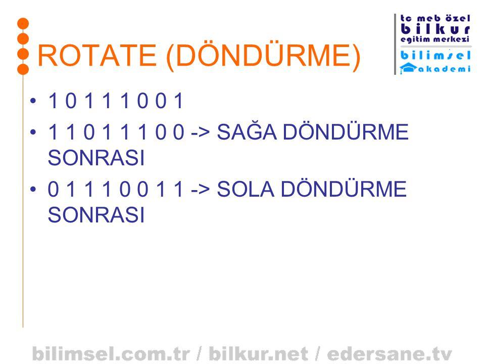 ROTATE (DÖNDÜRME) 1 0 1 1 1 0 0 1. 1 1 0 1 1 1 0 0 -> SAĞA DÖNDÜRME SONRASI.