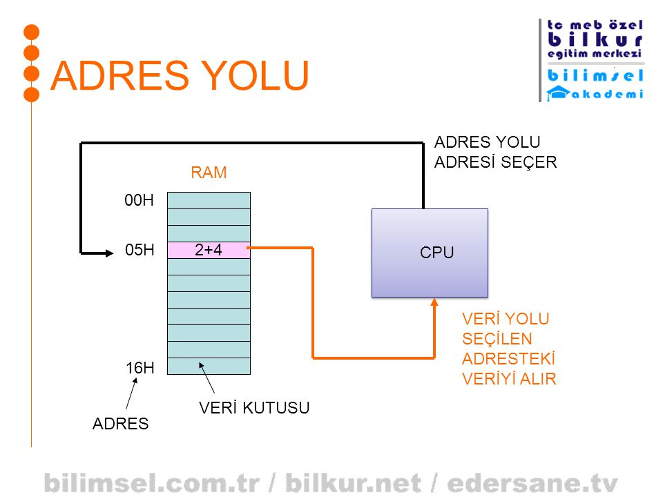 ADRES YOLU ADRES YOLU ADRESİ SEÇER RAM 00H CPU 05H 2+4 VERİ YOLU