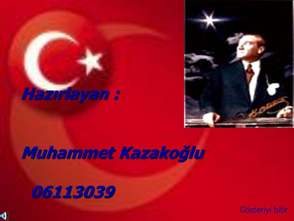 Hazırlayan : Muhammet Kazakoğlu 06113039