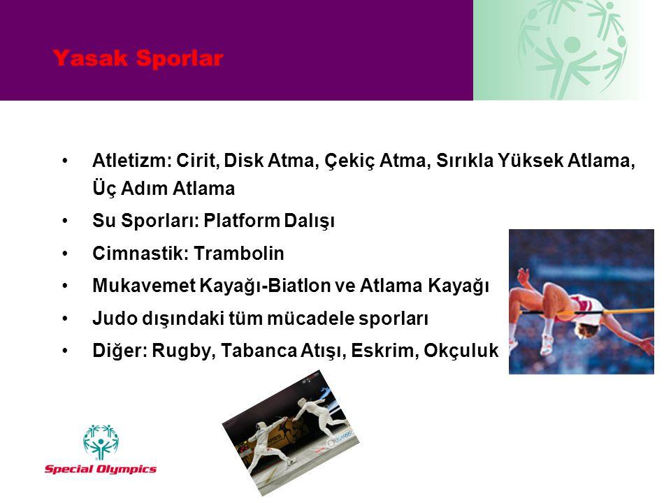 Yasak Sporlar Atletizm: Cirit, Disk Atma, Çekiç Atma, Sırıkla Yüksek Atlama, Üç Adım Atlama. Su Sporları: Platform Dalışı.