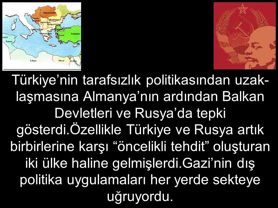 Türkiye'nin tarafsızlık politikasından uzak-laşmasına Almanya'nın ardından Balkan Devletleri ve Rusya'da tepki gösterdi.Özellikle Türkiye ve Rusya artık birbirlerine karşı öncelikli tehdit oluşturan iki ülke haline gelmişlerdi.Gazi'nin dış politika uygulamaları her yerde sekteye uğruyordu.