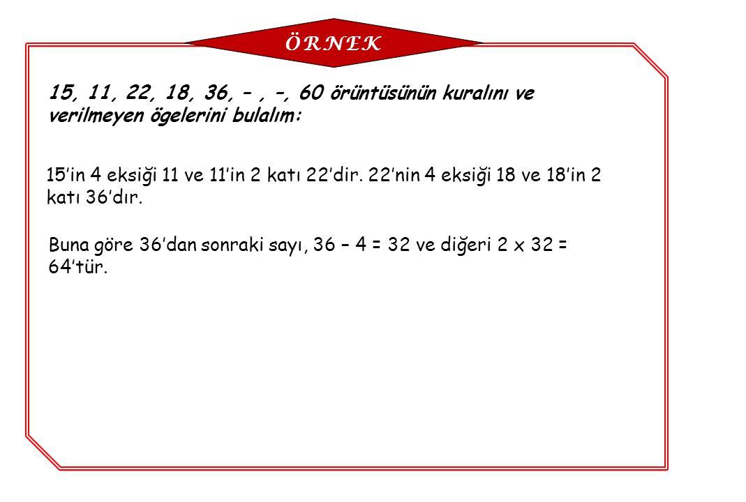 ÖRNEK 15, 11, 22, 18, 36, – , –, 60 örüntüsünün kuralını ve verilmeyen ögelerini bulalım: