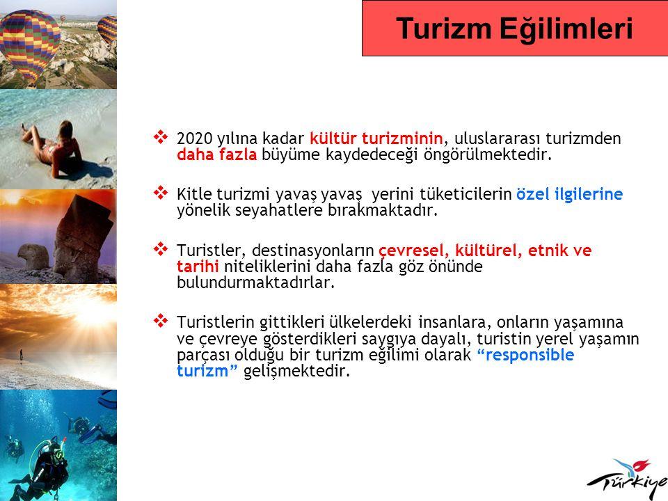 Turizm Eğilimleri 2020 yılına kadar kültür turizminin, uluslararası turizmden daha fazla büyüme kaydedeceği öngörülmektedir.