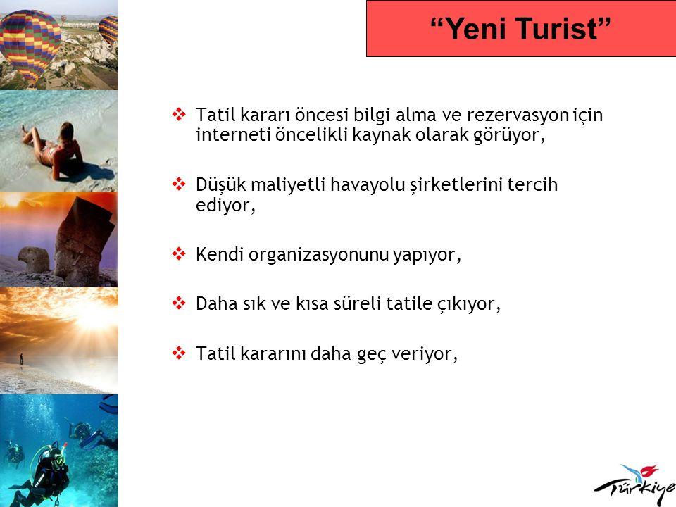 Yeni Turist Tatil kararı öncesi bilgi alma ve rezervasyon için interneti öncelikli kaynak olarak görüyor,