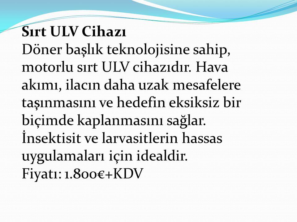 Sırt ULV Cihazı Döner başlık teknolojisine sahip, motorlu sırt ULV cihazıdır. Hava akımı, ilacın daha uzak mesafelere taşınmasını ve hedefin eksiksiz bir biçimde kaplanmasını sağlar.