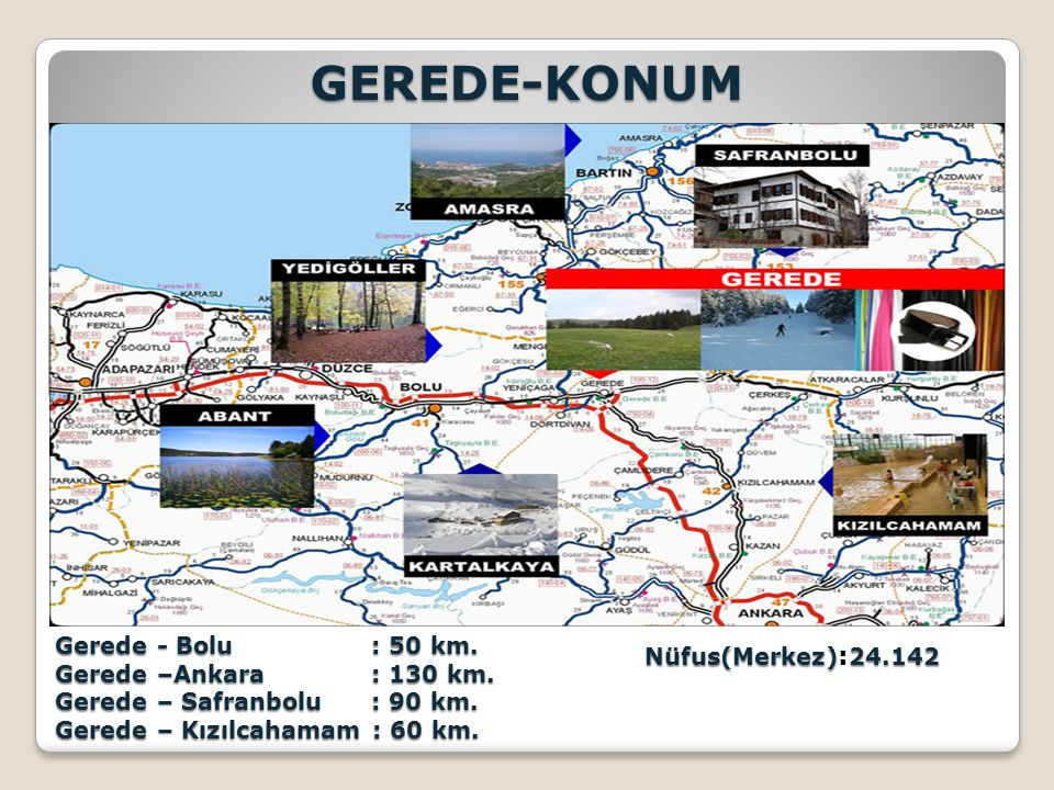 GEREDE-KONUM Nüfus(Merkez):24.142 Gerede - Bolu : 50 km.