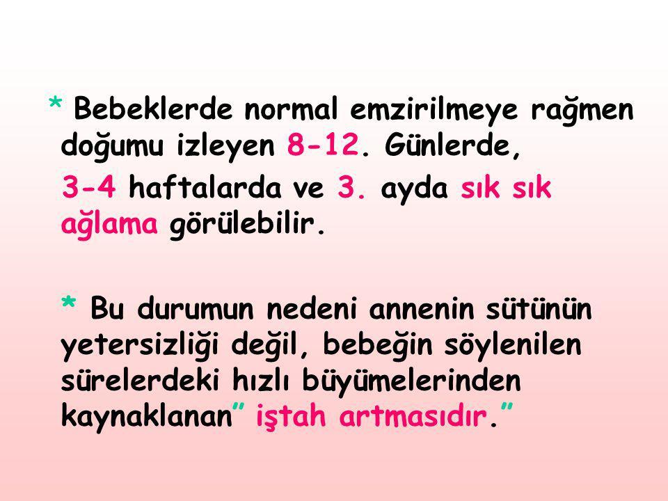* Bebeklerde normal emzirilmeye rağmen doğumu izleyen 8-12. Günlerde,