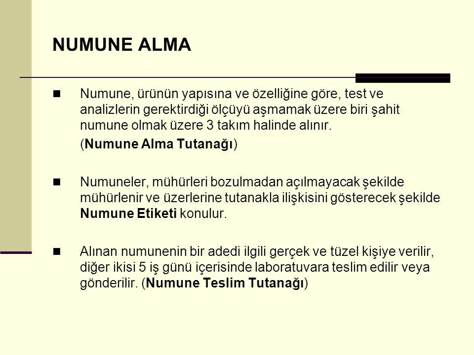 NUMUNE ALMA