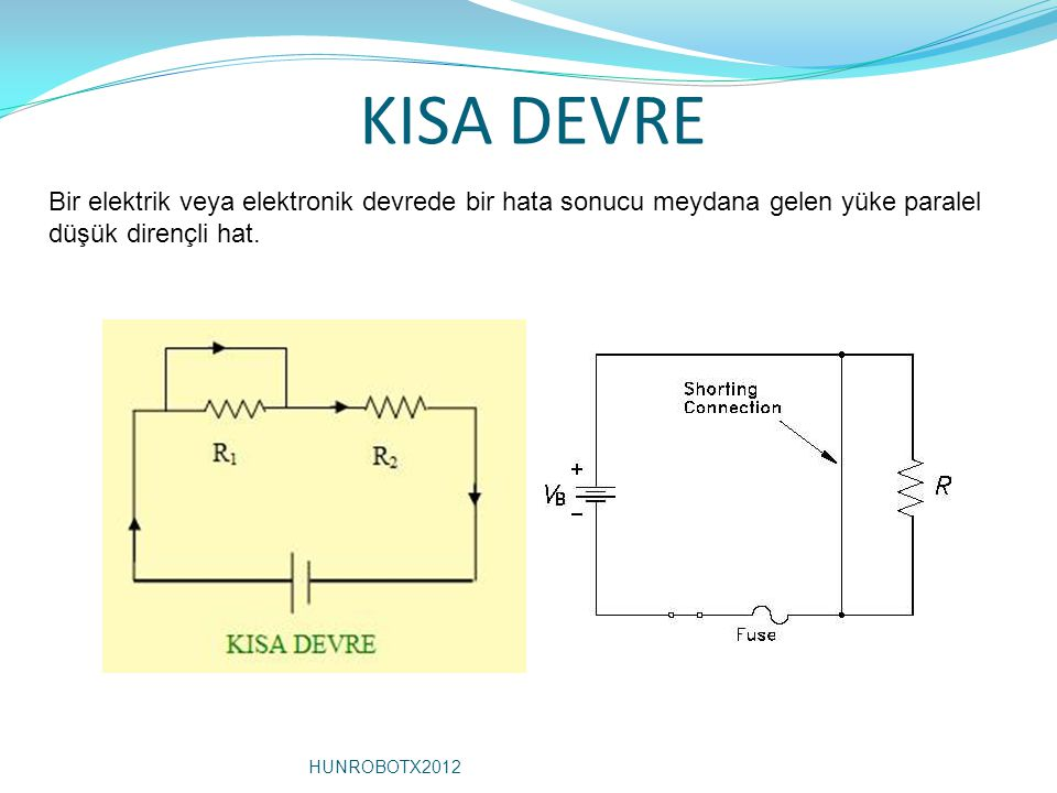 KISA DEVRE Bir elektrik veya elektronik devrede bir hata sonucu meydana gelen yüke paralel düşük dirençli hat.