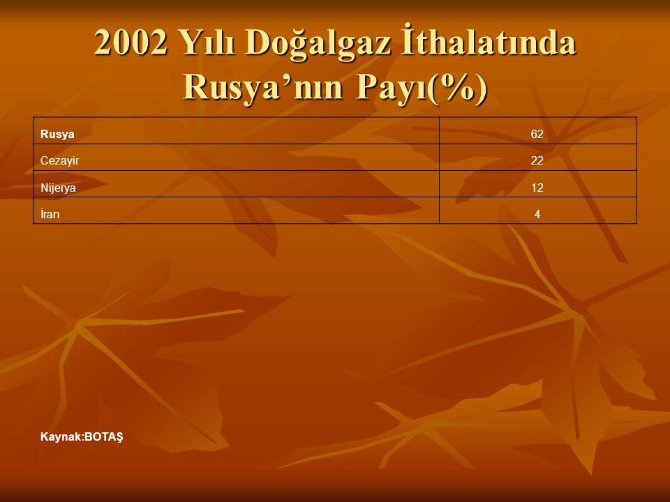 2002 Yılı Doğalgaz İthalatında Rusya'nın Payı(%)
