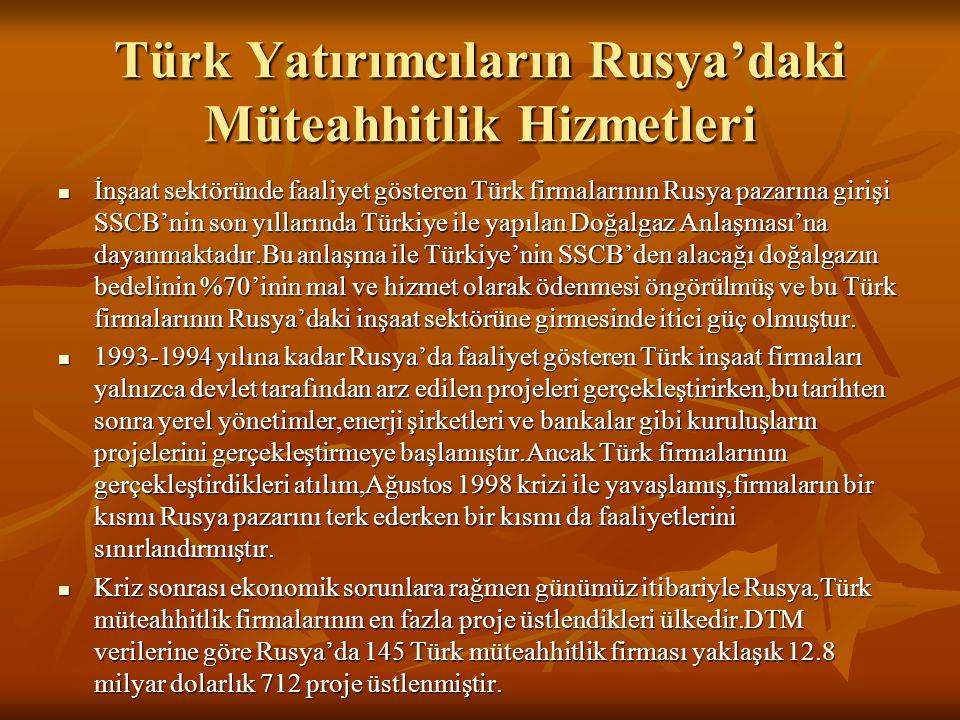 Türk Yatırımcıların Rusya'daki Müteahhitlik Hizmetleri