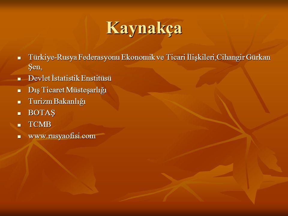 Kaynakça Türkiye-Rusya Federasyonu Ekonomik ve Ticari İlişkileri,Cihangir Gürkan Şen, Devlet İstatistik Enstitüsü.