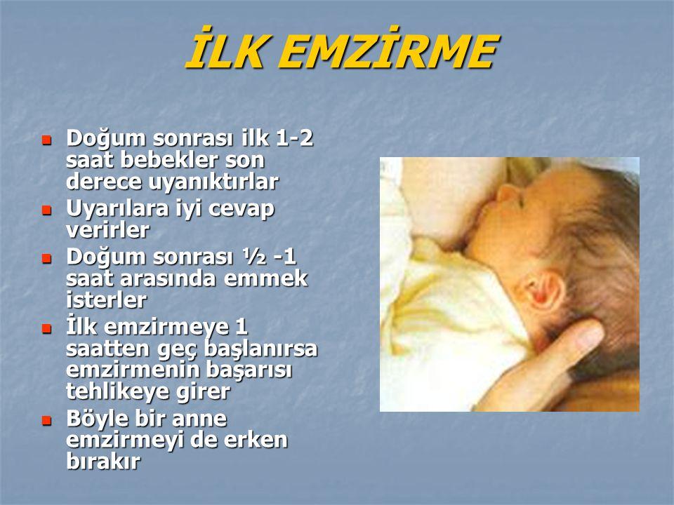 İLK EMZİRME Doğum sonrası ilk 1-2 saat bebekler son derece uyanıktırlar. Uyarılara iyi cevap verirler.