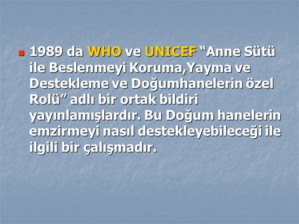 1989 da WHO ve UNICEF Anne Sütü ile Beslenmeyi Koruma,Yayma ve Destekleme ve Doğumhanelerin özel Rolü adlı bir ortak bildiri yayınlamışlardır.