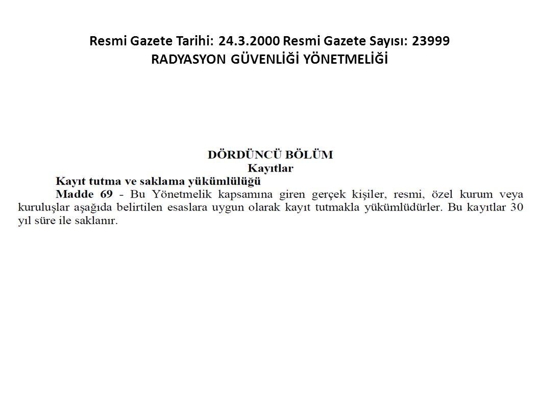 Resmi Gazete Tarihi: 24.3.2000 Resmi Gazete Sayısı: 23999 RADYASYON GÜVENLİĞİ YÖNETMELİĞİ