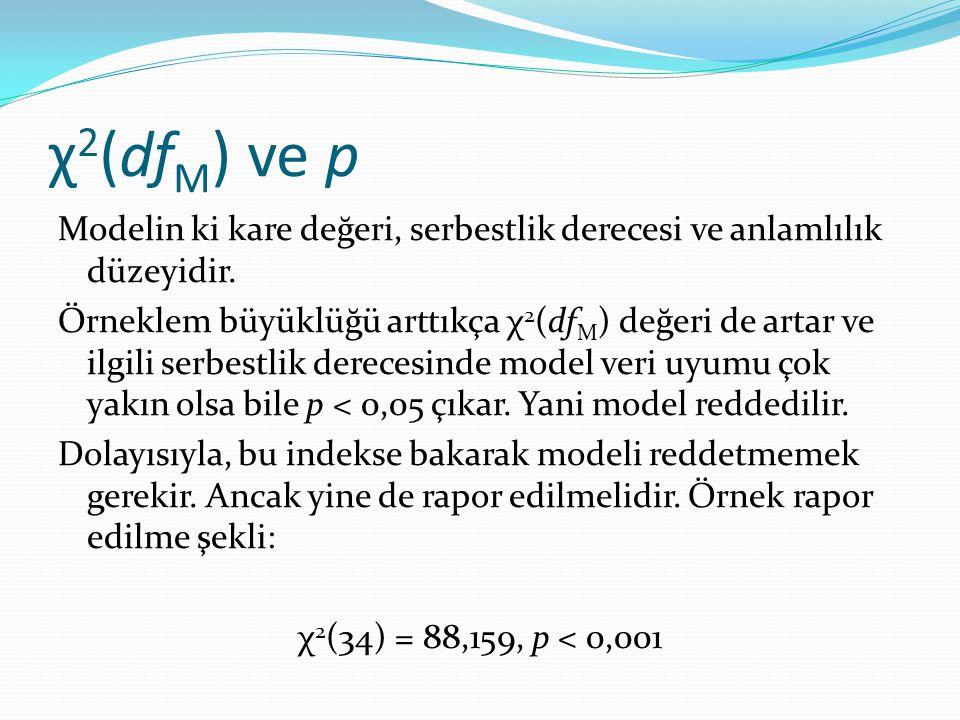 χ2(dfM) ve p