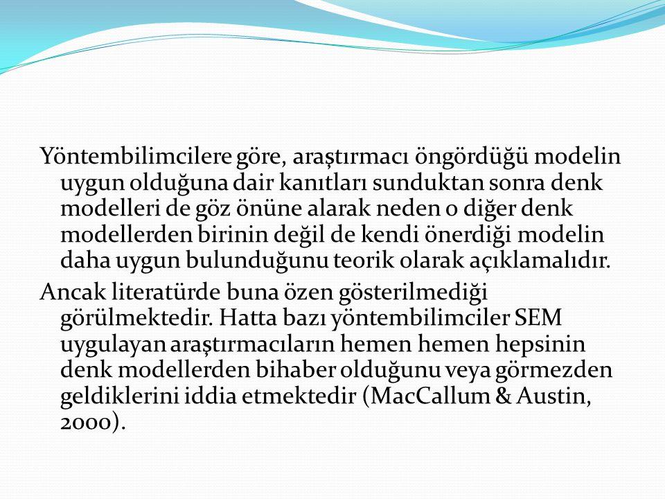 Yöntembilimcilere göre, araştırmacı öngördüğü modelin uygun olduğuna dair kanıtları sunduktan sonra denk modelleri de göz önüne alarak neden o diğer denk modellerden birinin değil de kendi önerdiği modelin daha uygun bulunduğunu teorik olarak açıklamalıdır.