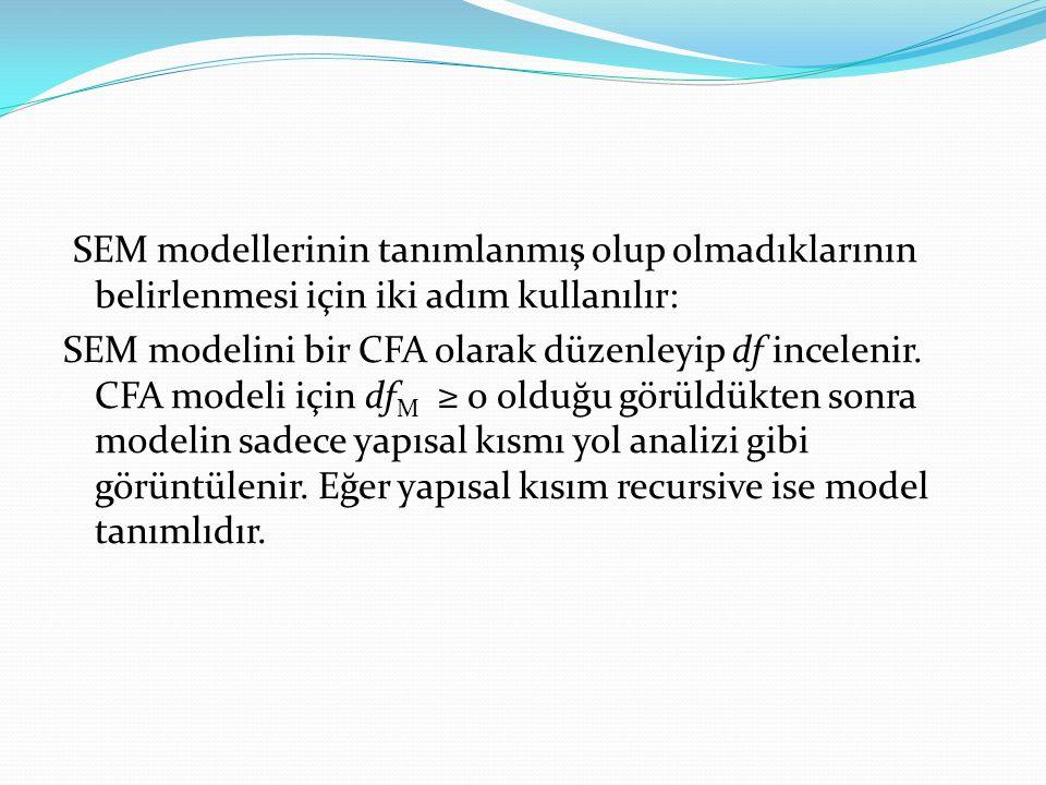 SEM modellerinin tanımlanmış olup olmadıklarının belirlenmesi için iki adım kullanılır: SEM modelini bir CFA olarak düzenleyip df incelenir.