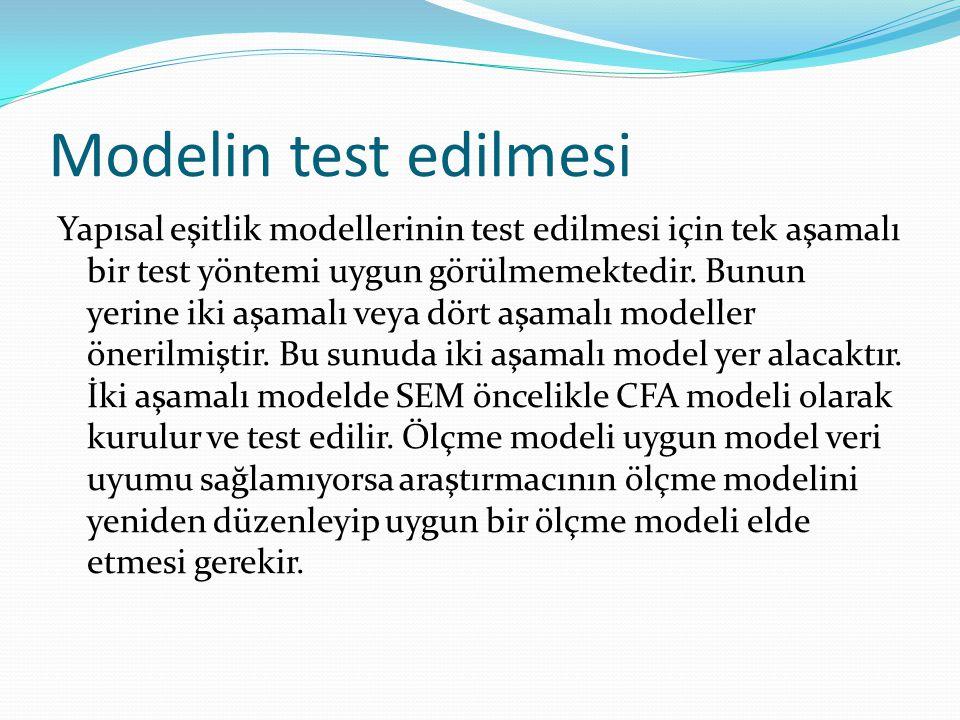 Modelin test edilmesi