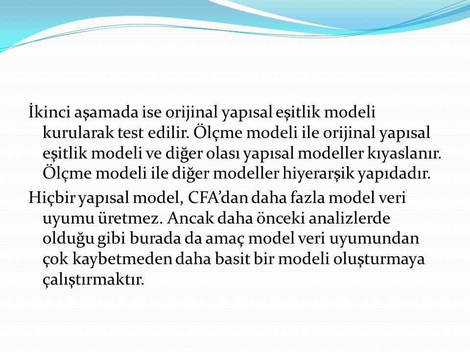 İkinci aşamada ise orijinal yapısal eşitlik modeli kurularak test edilir.