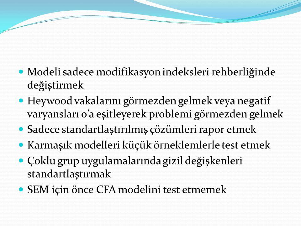 Modeli sadece modifikasyon indeksleri rehberliğinde değiştirmek