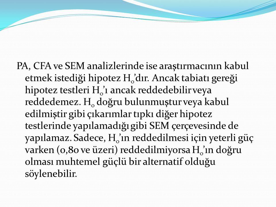 PA, CFA ve SEM analizlerinde ise araştırmacının kabul etmek istediği hipotez Ho'dır.