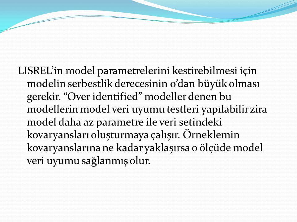 LISREL'in model parametrelerini kestirebilmesi için modelin serbestlik derecesinin 0'dan büyük olması gerekir.