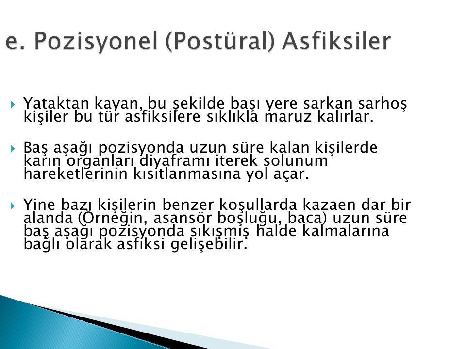 e. Pozisyonel (Postüral) Asfiksiler