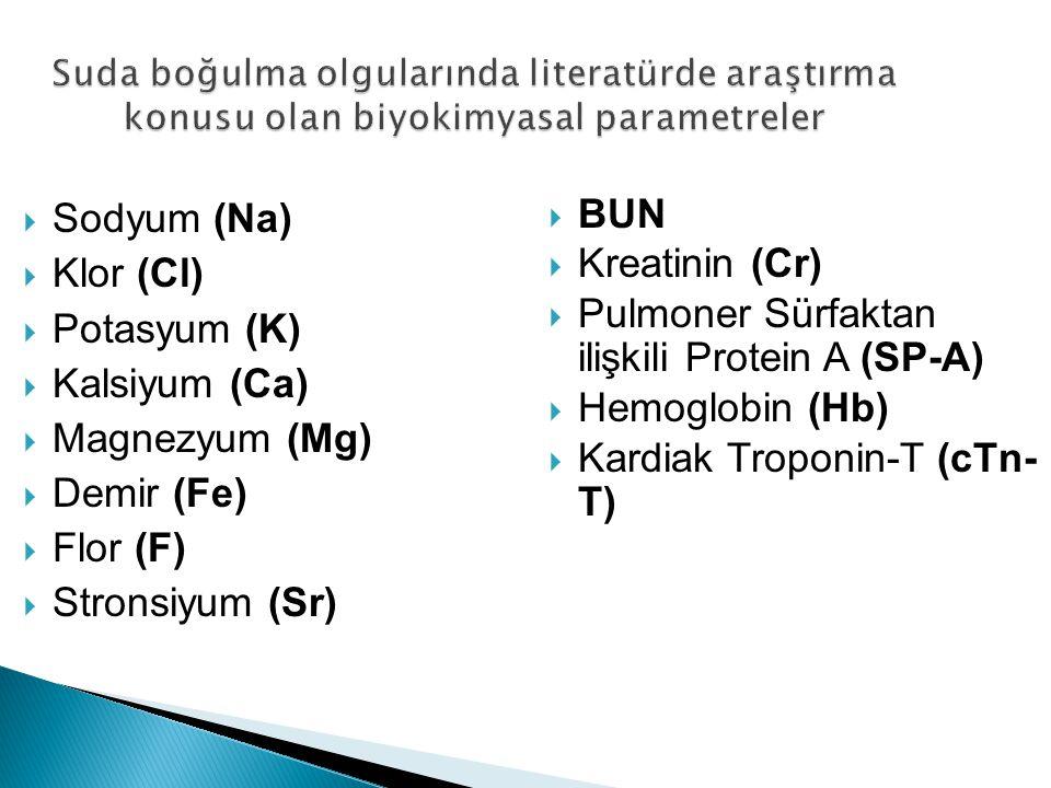 Pulmoner Sürfaktan ilişkili Protein A (SP-A) Hemoglobin (Hb)