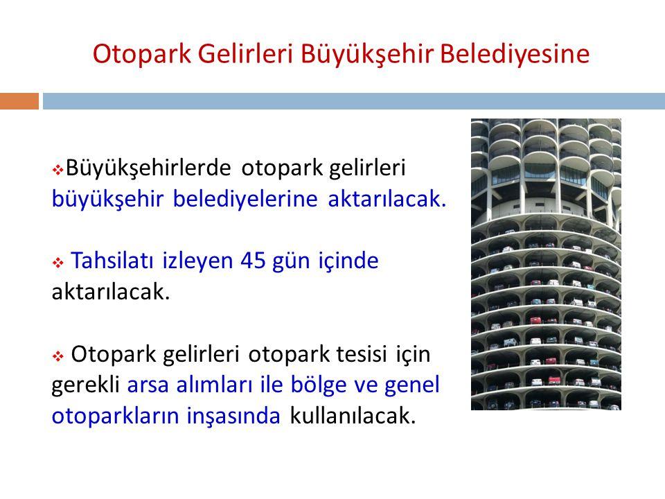 Otopark Gelirleri Büyükşehir Belediyesine