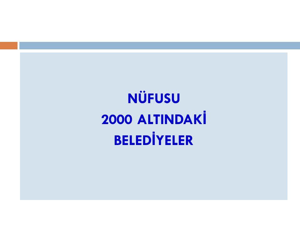 NÜFUSU 2000 ALTINDAKİ BELEDİYELER