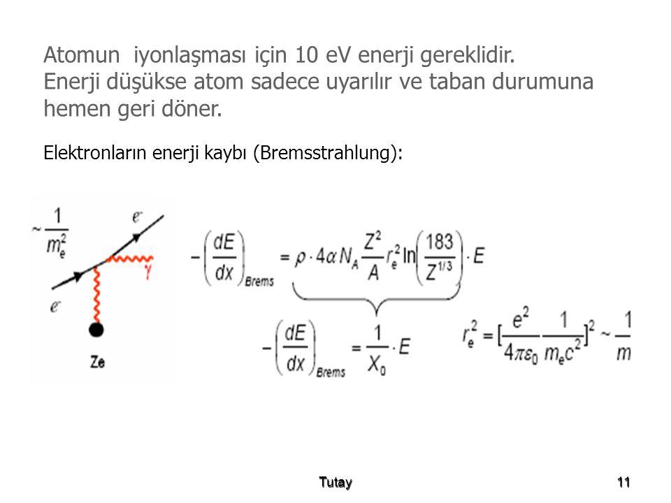 Atomun iyonlaşması için 10 eV enerji gereklidir.