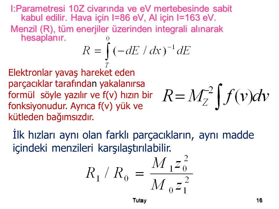 I:Parametresi 10Z civarında ve eV mertebesinde sabit kabul edilir