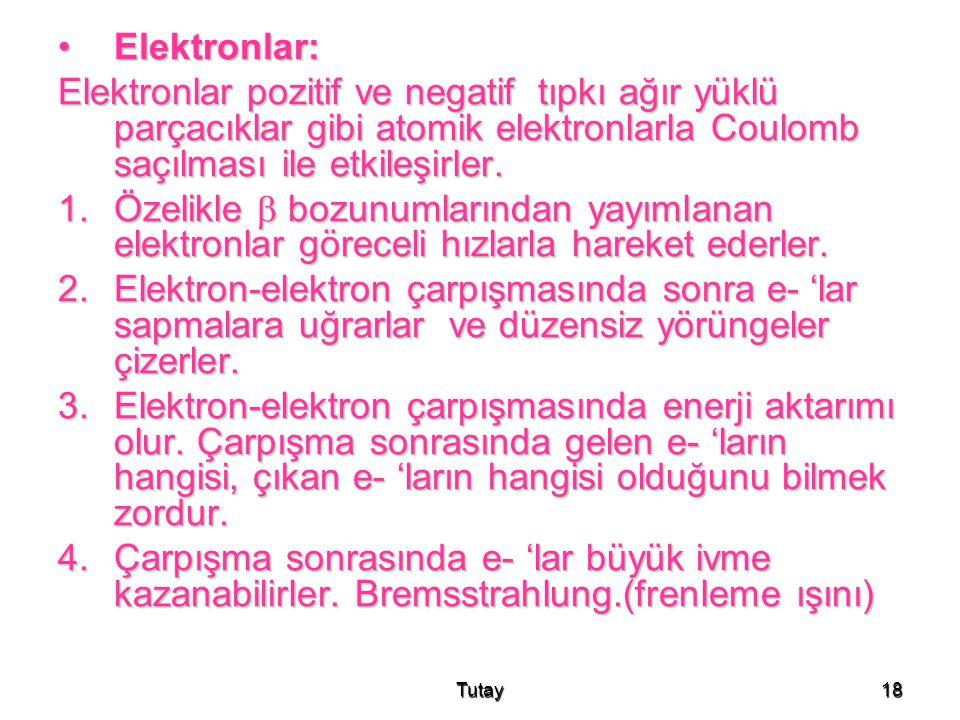 Elektronlar: Elektronlar pozitif ve negatif tıpkı ağır yüklü parçacıklar gibi atomik elektronlarla Coulomb saçılması ile etkileşirler.