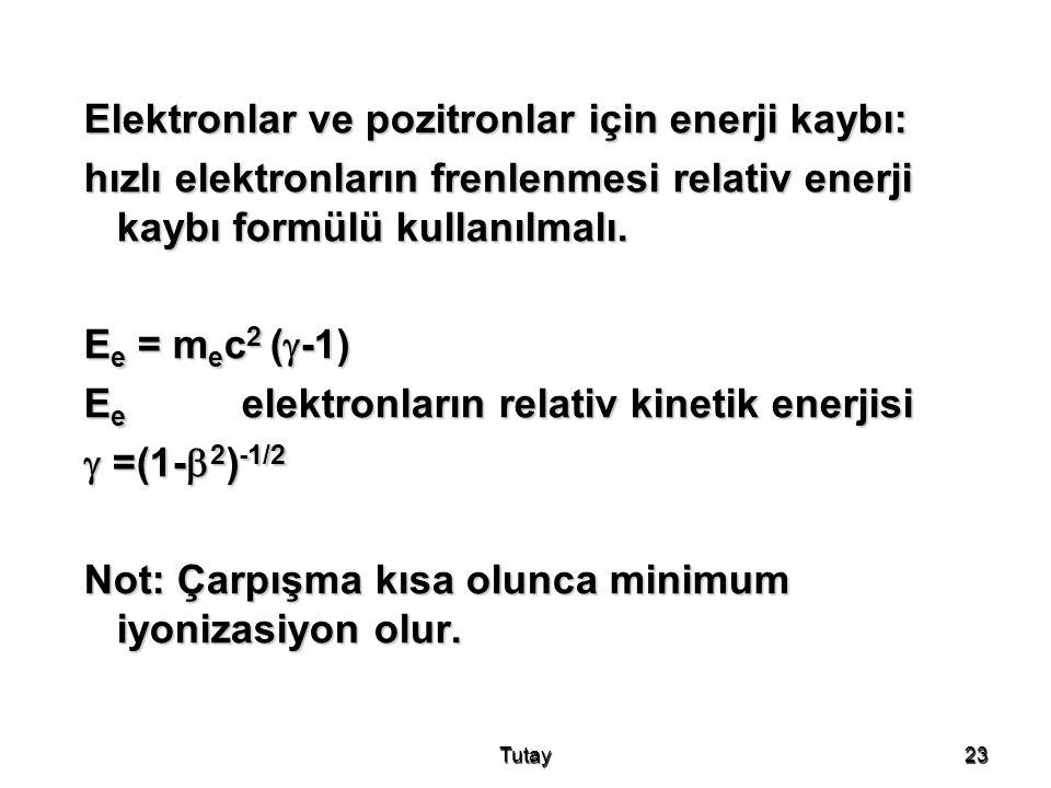 Elektronlar ve pozitronlar için enerji kaybı: