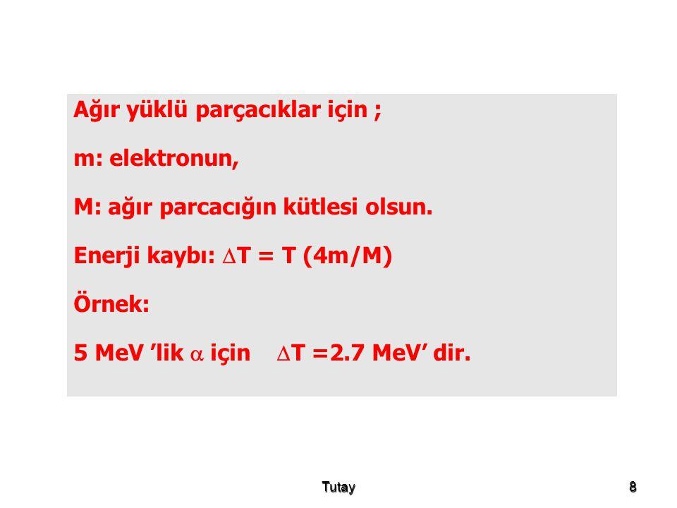 Ağır yüklü parçacıklar için ; m: elektronun,