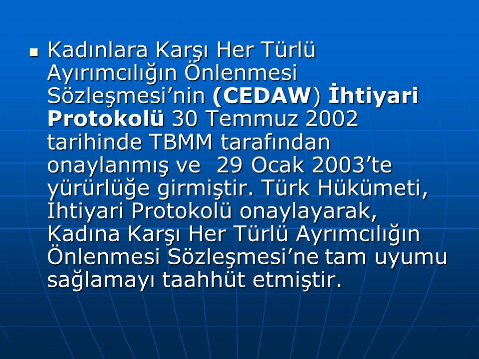 Kadınlara Karşı Her Türlü Ayırımcılığın Önlenmesi Sözleşmesi'nin (CEDAW) İhtiyari Protokolü 30 Temmuz 2002 tarihinde TBMM tarafından onaylanmış ve 29 Ocak 2003'te yürürlüğe girmiştir.