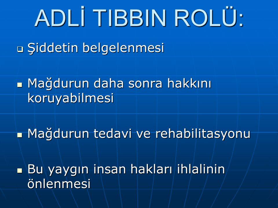 ADLİ TIBBIN ROLÜ: Şiddetin belgelenmesi