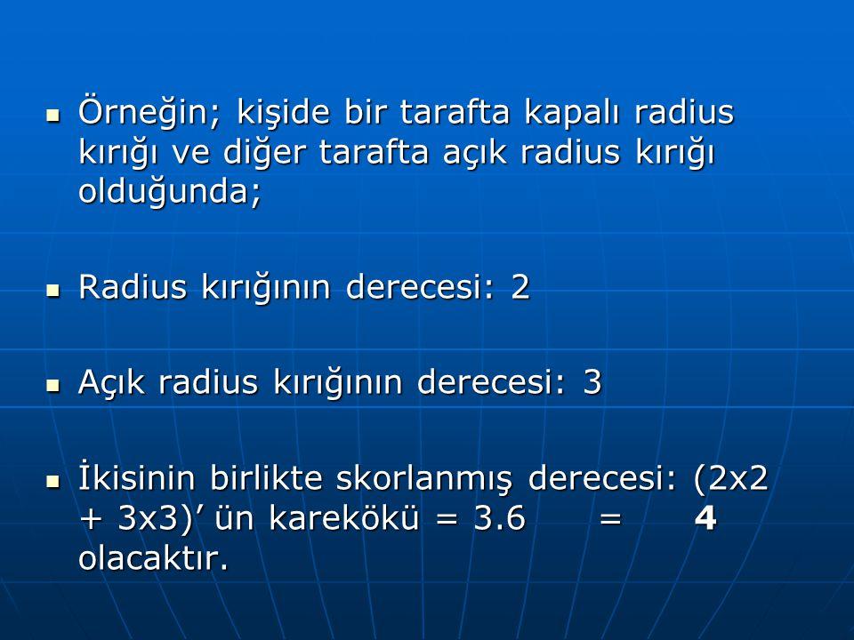Örneğin; kişide bir tarafta kapalı radius kırığı ve diğer tarafta açık radius kırığı olduğunda;