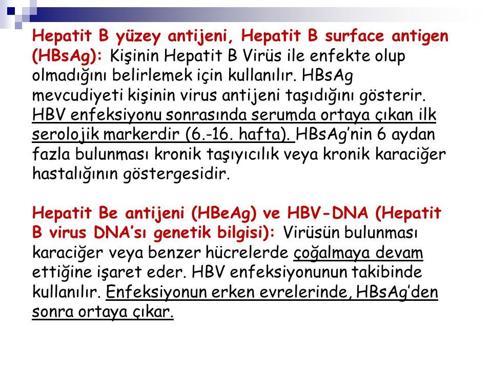 Hepatit B yüzey antijeni, Hepatit B surface antigen (HBsAg): Kişinin Hepatit B Virüs ile enfekte olup olmadığını belirlemek için kullanılır. HBsAg