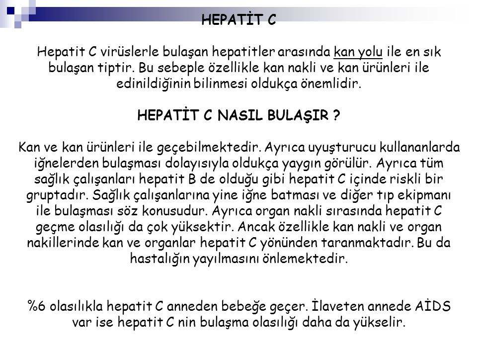 HEPATİT C NASIL BULAŞIR